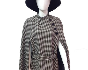 Vintage 60s dogtooth cape wool