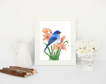 Bird Art Printable Bird Wall Art Bird Home Decor Bird Illustration Blue