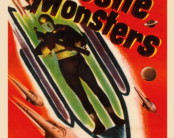 Sci-Fi Missile Monsters Destruction From the Stratosphere Space Rocket Ship Vintage Poster Repro FREE SHIPPING in USA