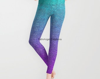 Tropical Twilight Glitter Gradient Leggings, Available in 5 Sizes!