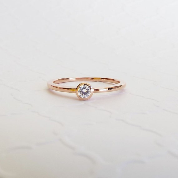 CZ Bezel Engagement Ring 14k Rose Gold Promise ring simple
