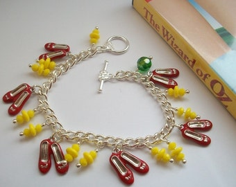 Journey to The Emerald City - Charm bracelet with ruby slippers Wizard of Oz.