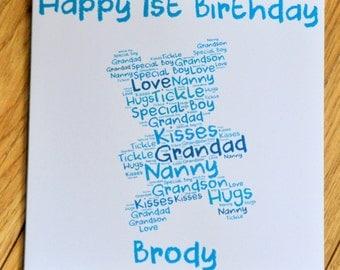 1st Birthday Card, First Birthday, Birthday Card, Teddy, Word Art, Handmade Card, Word Art Card, Personalised Card, Greeting Card, Birthday