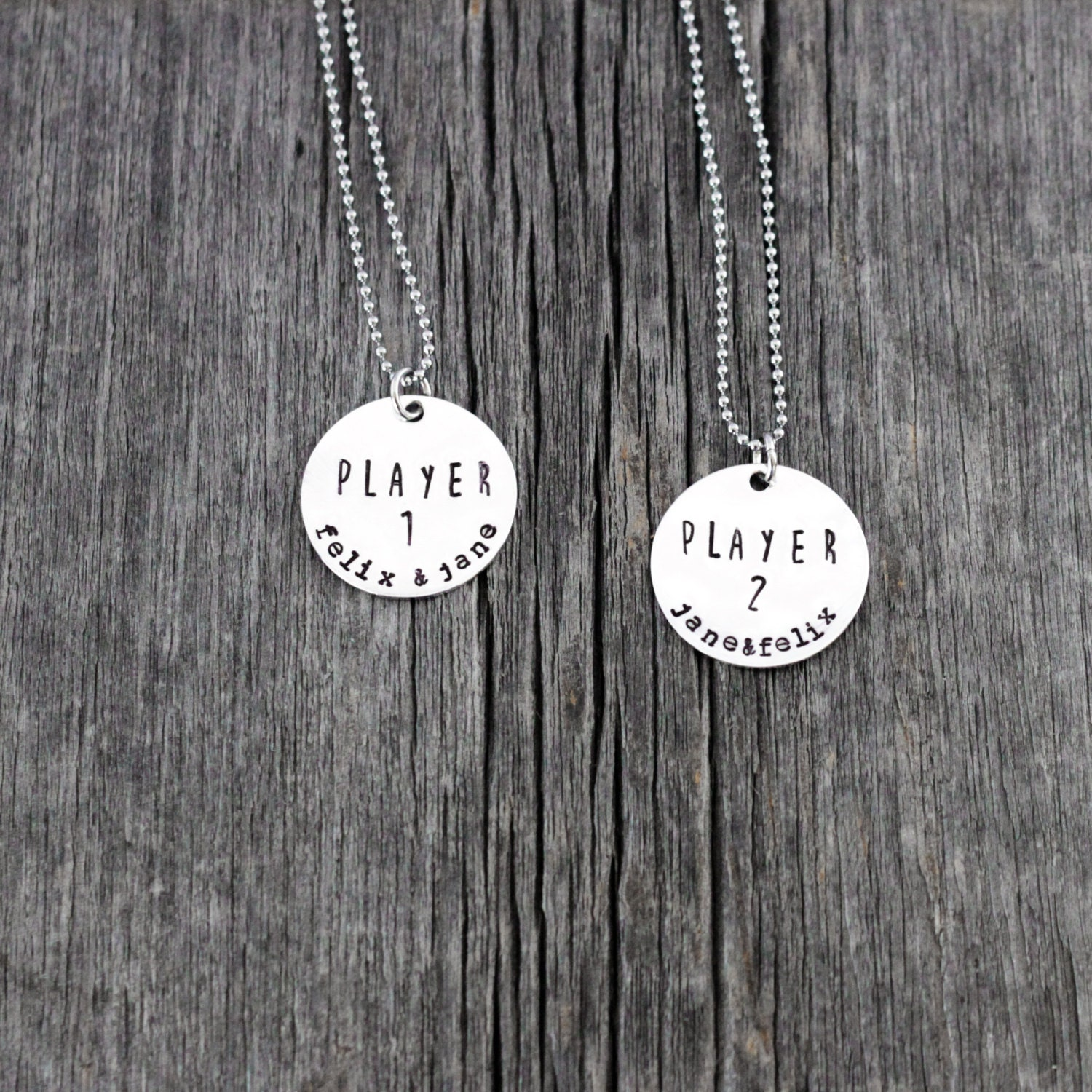 Player 1 Player 2 hand stamped personalized couples necklace