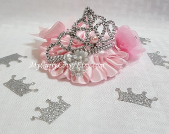 Princess Cake Topper/Pink and Silver Princess Cake Topper/Pink and Gold Princess Cake Topper/Tiara Cake Topper/Princess Crown Cake Topper