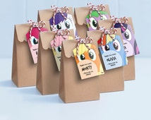 My Little Pony Lollie Bag Tags - Printable Loot Bag Tags / My Little Pony Labels / My Little Pony Gift Tags / Pinky Pie, Rainbow Dash, Spike