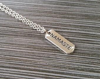 Silver Namaste Necklace - Inspirational Jewelry - Personalized Necklace - Custom Gift - Yoga Jewelry - Yoga Instructor Gift