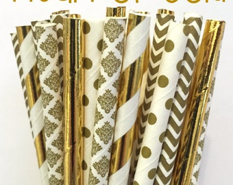 2.85 US Shipping -Gold Foil Paper Straws -  Gold Straws- Cake Pop Sticks - Drinking Straws - New Years Eve Straw
