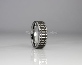 FREE SHIPPING FREE Custom Engraving 8mm Tungsten Band with Flat Edge Railway Tracks, Train Tracks, Railroad Tracks Laser Engraved Ring