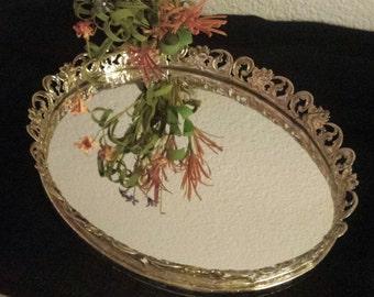 Gold Filigree Oval Vanity/Dresser Tray Mirrored Vintage 1960s