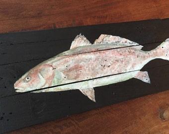 Redfish painting, pallet art, redfish original acrylic painting, fish art, fish decor