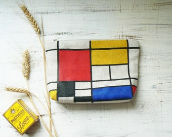 Mondrian Cosmetics Makeup bag Hand Painted Cosmetic Pouch Linen Cosmetic Bag Gift Girlfriend