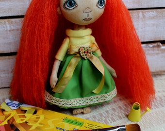 Dinah DOLL ... LittleDoll, Girl, Cloth Doll, art doll, handmade.