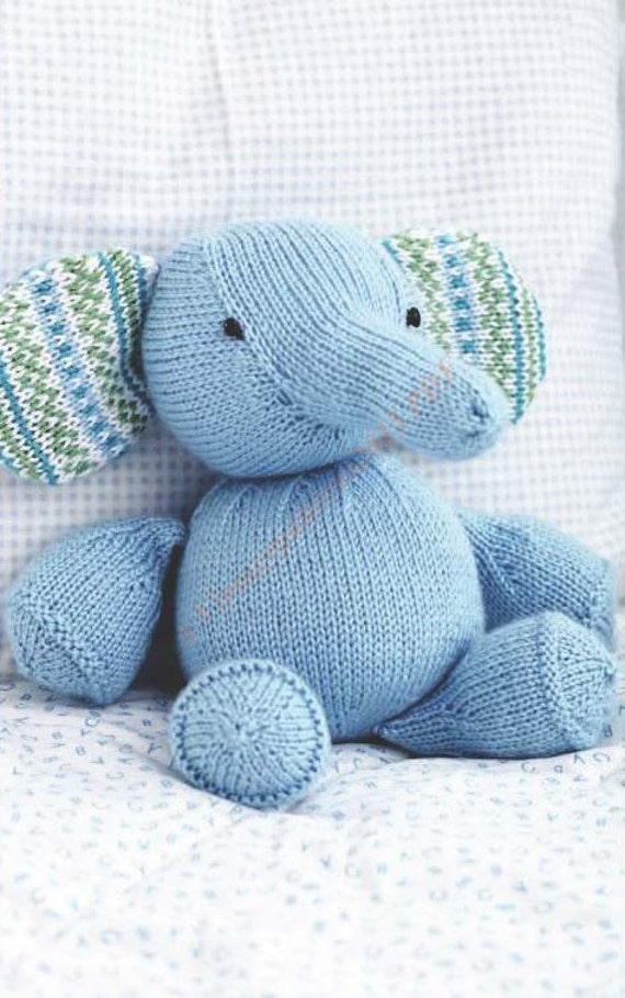 Knitting Pattern For Baby Elephant : Toy Elephant Knitting Pattern Softee by VintagePatterns2015