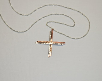 Hammered Cross Necklace // Cross Pendant - Drop Charm Necklace Silver - Drop Necklace - Cross Jewelry - Minimalist Necklace