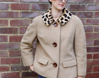 Vintage 60s jacket with leopard collar