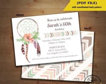 Dreamcatcher boho birthday invitation party bohemia invite feathers Instant Download editable text DIY printable invite 5176