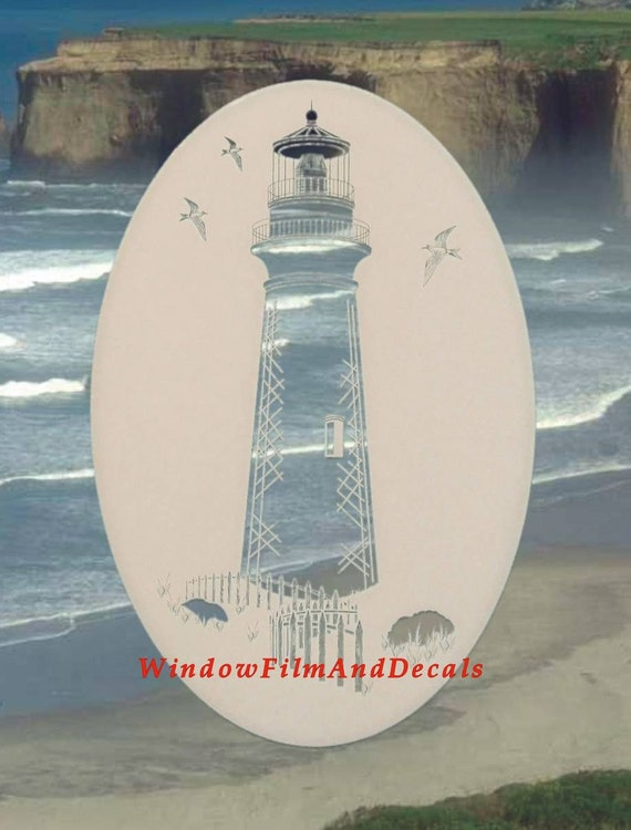 Lighthouse Oval Static Cling Window Decal 21 X 33