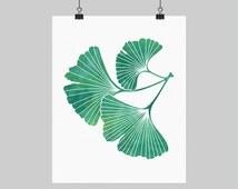 Digital Printable Artwork Ginkgo Leaf Wall Art Gingko Ginko Print Teal Green Botanical Print Teal Bedroom Decor 8X10 16X20 A4 Sizes
