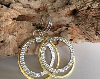 Silver, Gold, Large, Hoop, Mixed Metal, Hammered, Earrings
