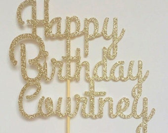 Personalized Name Cake Topper, Birthday Cake Topper, Glitter Birthday Cake Topper