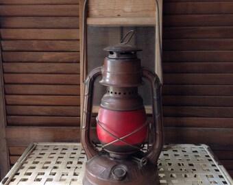 Vintage Barn Lantern Red Globe Dietz Little Wizard NY USA Rustic Farmhouse Decor Country Decor Shabby Vignette