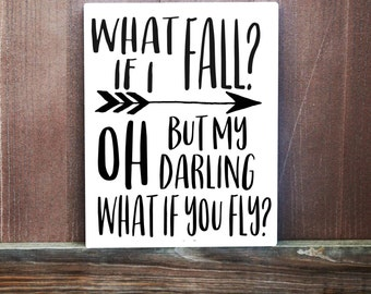 What If I Fall Wall Canvas Quote, Hand Painted Canvas, Inspirational Quote, Gift For Her, Office Decor, Motivational Quote, Dorm Decor