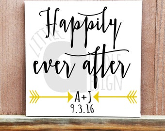 Happily Ever After Wedding Sign, Hand Painted Canvas, Home Decor, Wedding Decor, Reception Decor, Wedding Gift, Wedding Quote