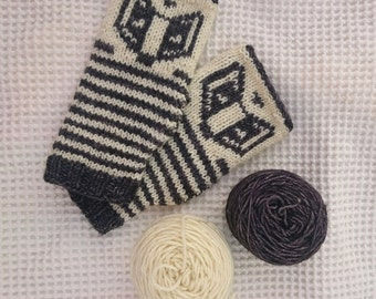 Badger Wristers / Fingerless Mittens - mini knitting kit- just the hand dyed wool and pattern.
