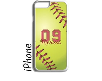 Softball Gift, Gift for Her, Softball Phone Case, Personalized Phone Case, iPhone Case, iPhone 7, iPhone 6, iPhone 7 Plus, iPhone 6 Plus