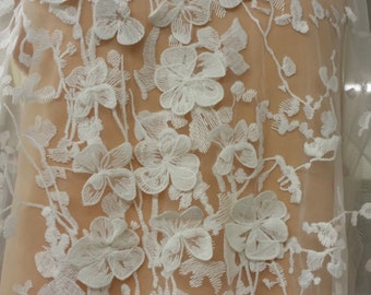 3D Lace, Ivory lace fabric, French Lace, Embroidered lace, Wedding Lace, Bridal lace, White Lace, Veil lace, Lingerie Lace Chantilly Lace