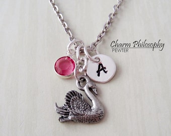 Swan Necklace - Reversible Antique Silver Pewter Swan Charm - Monogram Personalized Initial and Birthstone