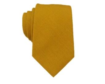 Mustard Yellow Linen Tie.Wedding Tie.Yellow Line Tie.Mens Tie.Groomsmen Neckties.