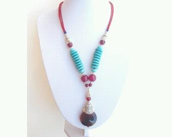 agate statement necklace, Statement necklace, agate and howlite necklace, unique agate necklace