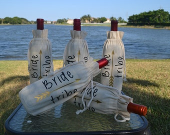 Bride Tribe Wine Bottle Bag, Champagne Bottle Bag, Bridal Party Gift, Wedding Party Gift, Wedding Favor, Personalized Gift,
