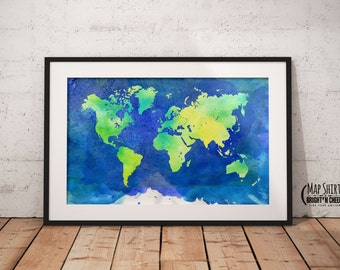 Watercolor World Map Print, 12x18, 16x24, 20x30, 24x36, 36x54, Lamination Available