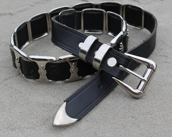 real leather belt black and silver for woman Size X Large