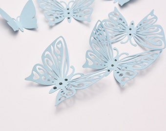 Blue Wall Art Butterflies - 3D Paper Wall Butterflies - Butterfly Room Decor - Butterfly Party Decoration
