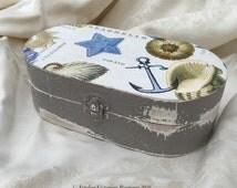 Wooden watch Box, Father's Day Gift, Men's Desk Box, Bathroom Storage, Cufflink Keepsake Box, Nautical Sea Shells, Rustic Memory Box