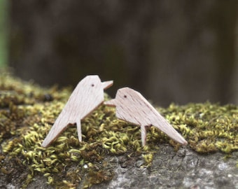 Wooden bird earrings