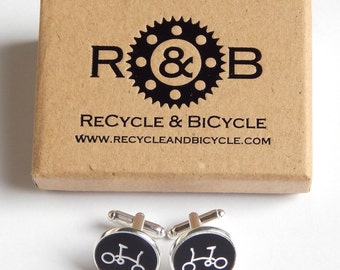 Folding Bicycle Bike Brompton Style Cufflinks Cuff Links By ReCycle & BiCycle