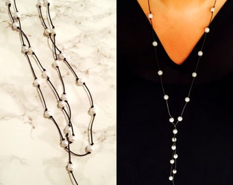 Freshwater Pearl Leather Strand Tie Necklace