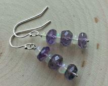 Sterling Silver Amethyst Earrings w/ Ethiopian Fire Opal ~ Opal Earrings ~ Natural Gemstone ~ Purple Beaded Earrings ~ Opal Dangle Earrings