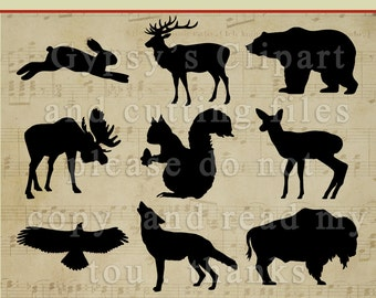 Forest Animal, wolf, raven, deer, bison, bear, Clipart, Vector, Cutting file, Pattern, png, svg,ai,eps, dxf