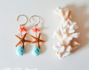 14k gold fill,turquoise and starfish Earrings