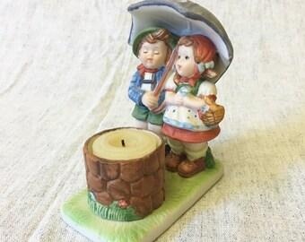 Vintage Wishing Well Candle Holder with Children Under Umbrella Figurine