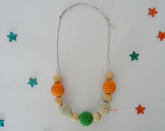 Orange and green nursing necklace