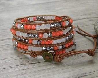 Spring wrap bracelet peach 5 wraps bead bracelet boho leather wrap bracelet casual stack bead bracelet gypsy bracelet chic bracelet SL-0319