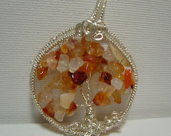 Tree of Life Pendant - with silver plated wire and carnelian chip beads