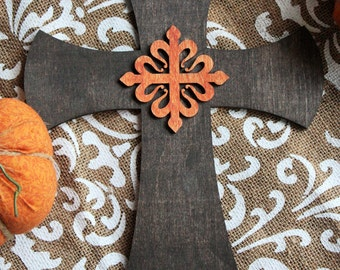 Beautiful Dark or Natural Wood Cross with Celtic Emblem for your Country Cabin Home Decor 8x10